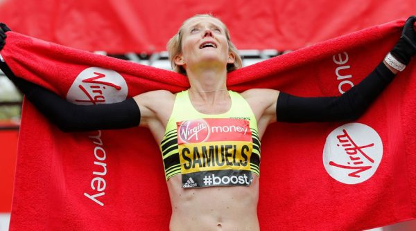 Great-Britains-Sonia-Samuels-celebrates-after-finishing-the-Womens-Elite-race-cropped