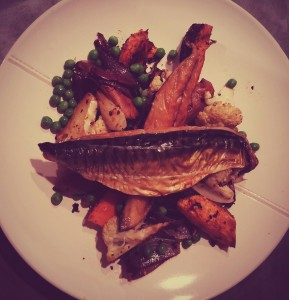 Spicy mackerel, cauliflower, sweet potato and peas - perfect after a long winters run