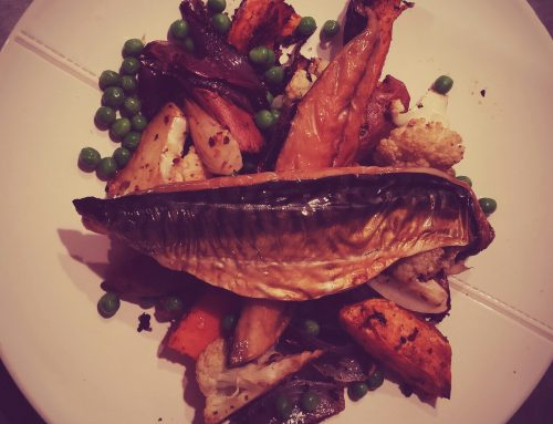 Spicy Mackerel, Cauliflower, Sweet Potatoes and Peas